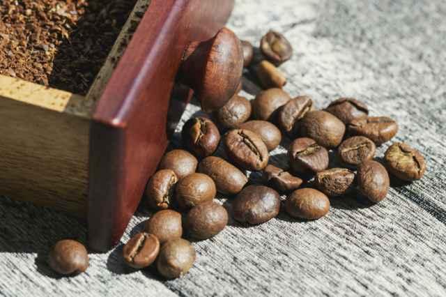 光が当たるコーヒー豆