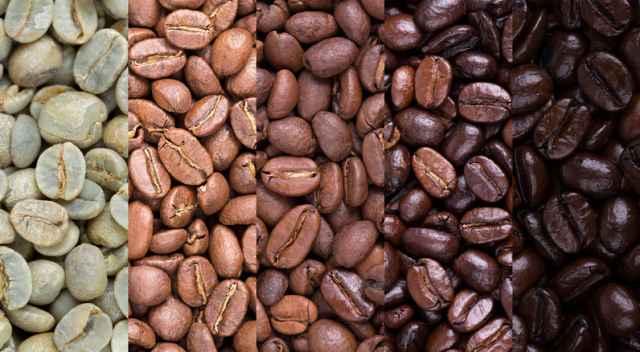 焙煎度合いの異なるコーヒー豆
