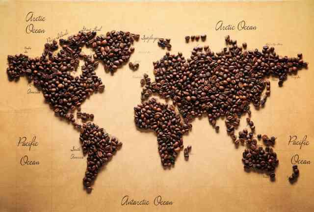 コーヒー豆による世界地図